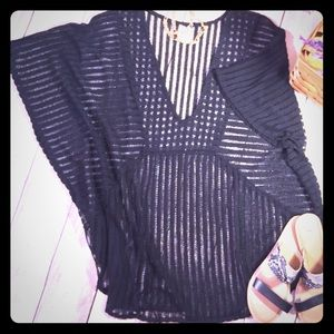 Super Pretty Swim Suit Cover Up Black Open Crochet